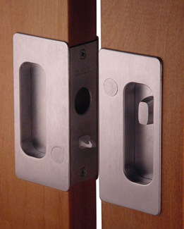 Cavilock pocket door locks on lockable sliding door